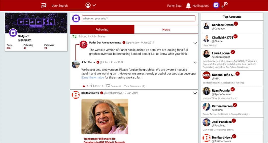 Parler website beta desktop